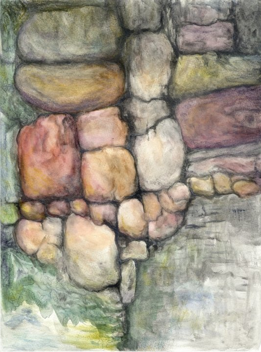 Painting:  watercolor Rocks II draft 5