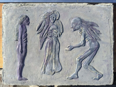 Three Angels in purple & blue pigmented cement